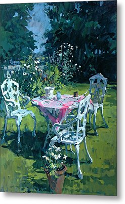 White Chairs At Belchester Metal Print by Susan Ryder