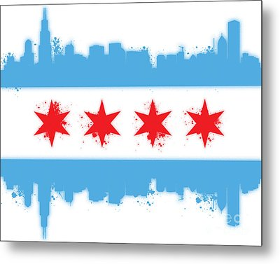 White Chicago Flag Metal Print