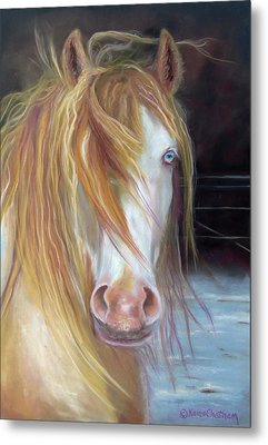White Chocolate Stallion Metal Print by Karen Kennedy Chatham