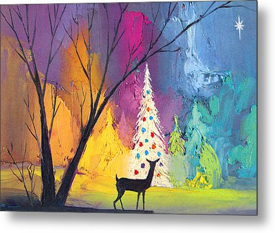 White Christmas Tree Metal Print by Munir Alawi
