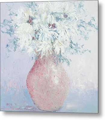 White Chrysanthemums Metal Print by Jan Matson