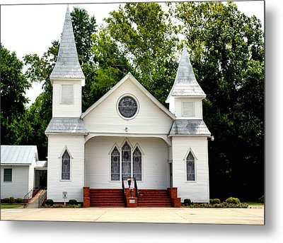 White Church Building Metal Print by Carolyn Ricks