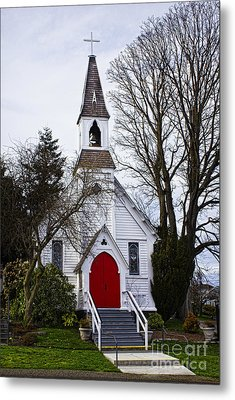 White Church With Red Door Metal Print by Elena Nosyreva