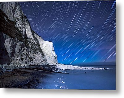 White Cliffs Of Dover On A Starry Night Metal Print by Ian Hufton