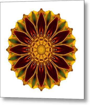 Deep Orange Marigold V Flower Mandala White Metal Print