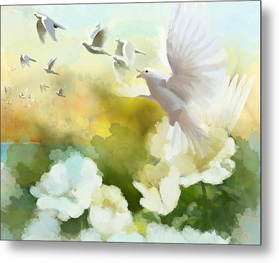 White Doves Metal Print by Catf