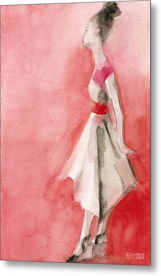 White Dress With Red Belt Fashion Illustration Art Print Metal Print