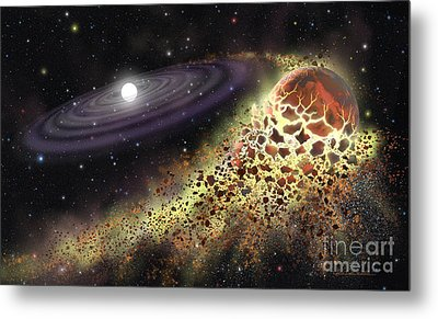 White Dwarf Shredding A Planet Metal Print by Lynette Cook