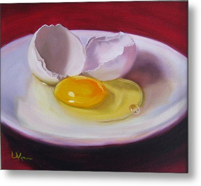 White Egg Study Metal Print by LaVonne Hand