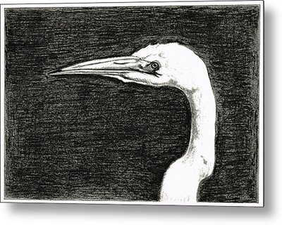 White Egret Art - The Great One - By Sharon Cummings Metal Print by Sharon Cummings