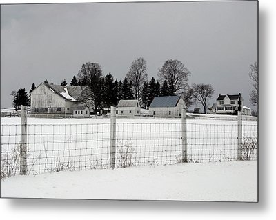 Metal Print featuring the photograph White Farm On A Gray Day  by Gene Walls