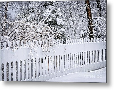 White Fence With Winter Trees Metal Print by Elena Elisseeva