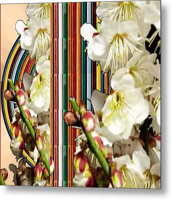 White Flower Medley Colorful Rainbow Stripes On The Backdrop Artist Navinjoshi  Metal Print