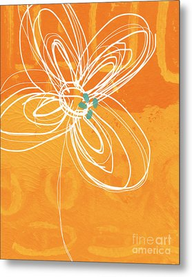 White Flower On Orange Metal Print by Linda Woods
