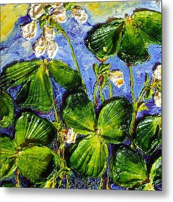 White Flowers Shamrocks Metal Print by Paris Wyatt Llanso