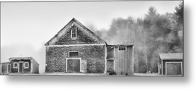White Foggy Farm Metal Print
