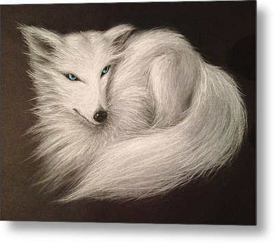 White Fox Metal Print by Patricia Lintner