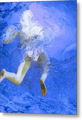White Hair Blue Water Metal Print by Dietrich ralph  Katz