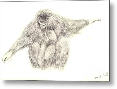 White Handed Gibbons--mother And Son Metal Print by Jingfen Hwu