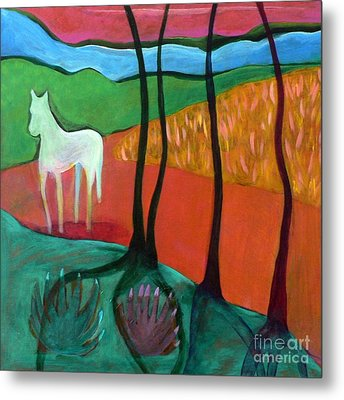 Metal Print featuring the painting White Horse by Elizabeth Fontaine-Barr
