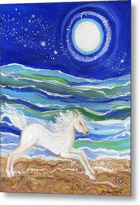 White Horse Of The Sea Metal Print
