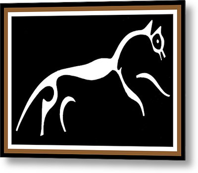 Metal Print featuring the digital art White Horse Of Uffington by Vagabond Folk Art - Virginia Vivier
