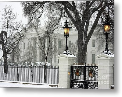 White House Christmas Metal Print