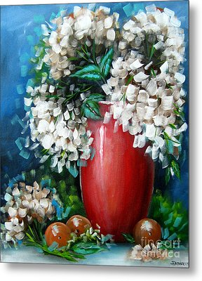 Metal Print featuring the painting White Hydrangeas by Patrice Torrillo