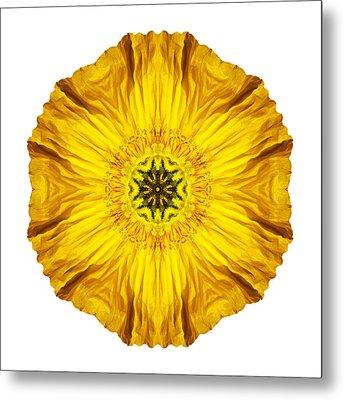 Iceland Poppy II Flower Mandala White Metal Print