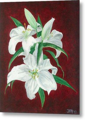 White Lily Dark Red Background  Metal Print by Jekaterina Mudivarthi