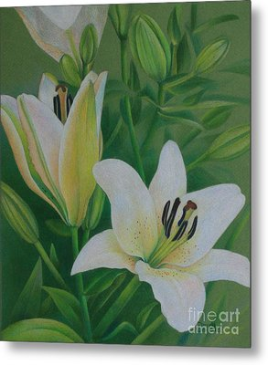 Metal Print featuring the painting White Lily by Pamela Clements