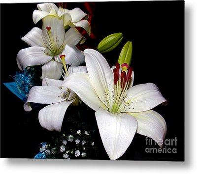 Metal Print featuring the photograph White Lilys by Elvira Ladocki
