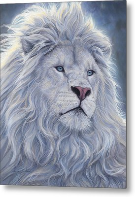 White Lion Metal Print by Lucie Bilodeau