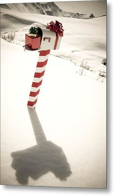 White Mailbox Decorated For Christmas Metal Print by Kevin Smith