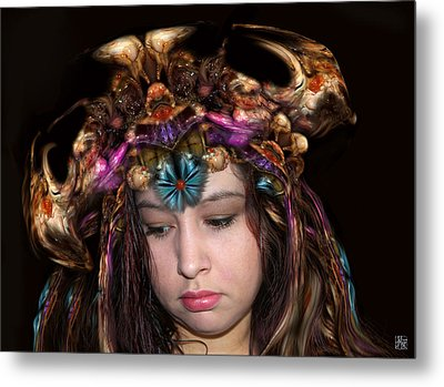Metal Print featuring the digital art White Meat And Bones Tiara by Otto Rapp