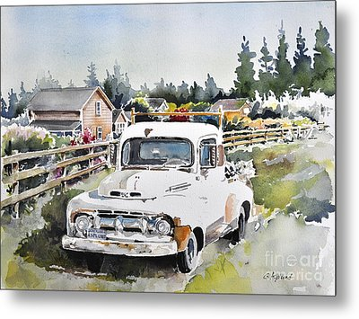 White Old Truck Parked Over The Fench Metal Print