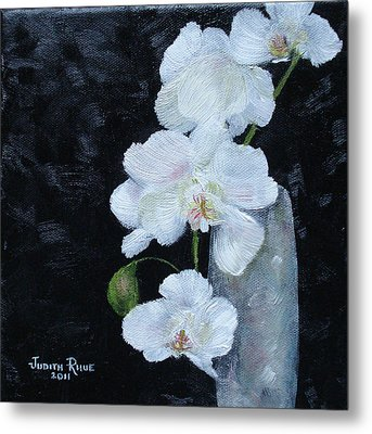 Metal Print featuring the painting White Orchid by Judith Rhue