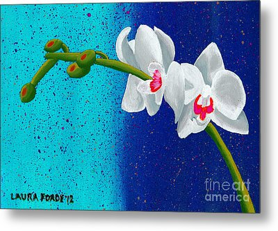White Orchids On Blue Metal Print by Laura Forde