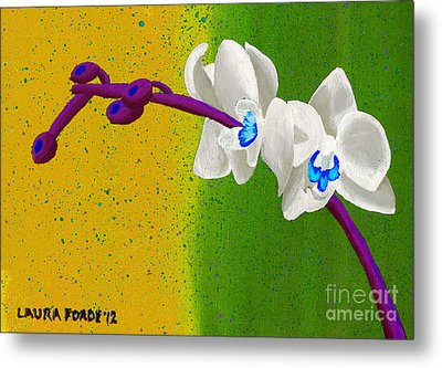 White Orchids On Yellow And Green Metal Print by Laura Forde