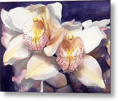 White Orchids Watercolor Metal Print by Greta Corens