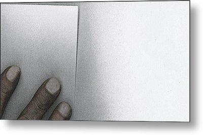 White Paper Dirty Fingers Metal Print by Bob RL Evans
