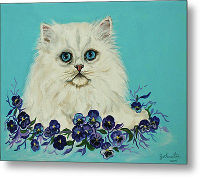 Metal Print featuring the painting White Persian In Pansy Patch Original Forsale by Bob and Nadine Johnston