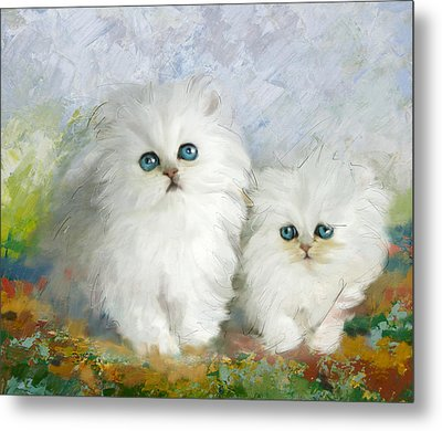 White Persian Kittens  Metal Print by Catf