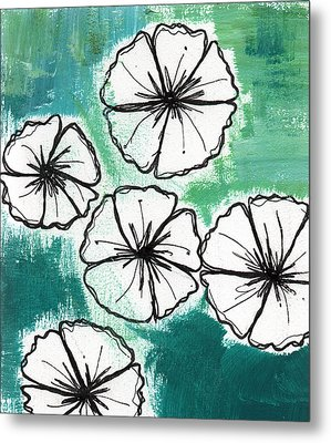 White Petunias- Floral Abstract Painting Metal Print by Linda Woods