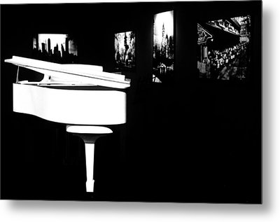 White Piano Metal Print by Benjamin Yeager