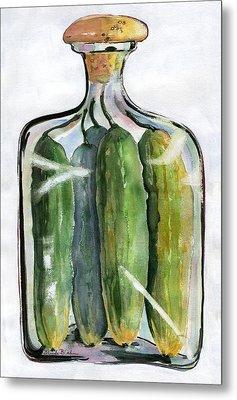 White Pickle Jar Art Metal Print by Blenda Studio