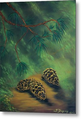White Pine  And Cones Metal Print