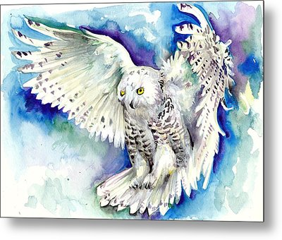 White Polar Owl - Wizard Dynamic White Owl Metal Print by Tiberiu Soos