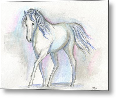 White Pony Metal Print