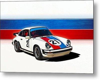 White Porsche 911 Metal Print
